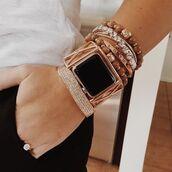 jewels,apple watch,watch,gold watch,bracelets,arm candy,gold bracelet,stacked jewelry,stacked bracelets,apple