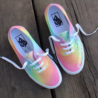 shoes vans pink rainbow low top sneakers multicolor