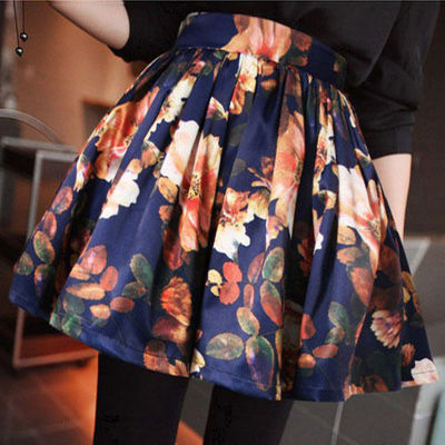 Print Pleated Flared Mini A-line Short Skirt · Humbly Glam ...