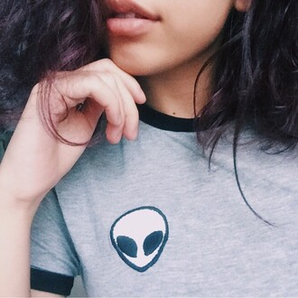 shirt brandy aesthetic tumblr instagram tumblr grey alien cute fashion t-shirt dope tumblr girl alien shirt gray shirt soft grunge girly girl girly wishlist grey t-shirt