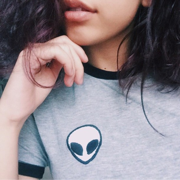 shirt brandy aesthetic tumblr instagram tumblr grey alien cute fashion