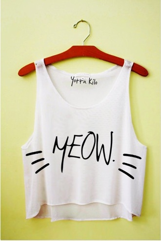 blouse meow cats crop tops