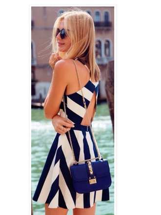dress blue dress white dress stripes nail polish navy backless dress backless pretty cute cute dress outfit outfit idea sunglasses sunnies handbag cute outfits chain gold pretty handbag preppy bag white and blue striped dress