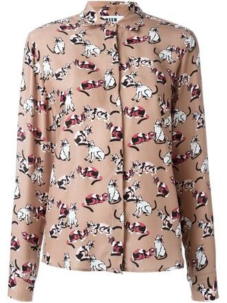 shirt women cotton print silk brown top