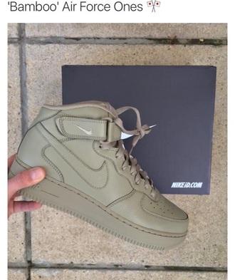 shoes khaki nike air force 1 nike nike shoes nike air nike air force high top sneakers men and women women green green sneakers