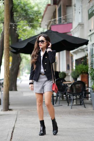 bag tumblr red bag shorts plaid jacket black jacket blazer black blazer boots black boots ankle boots sunglasses