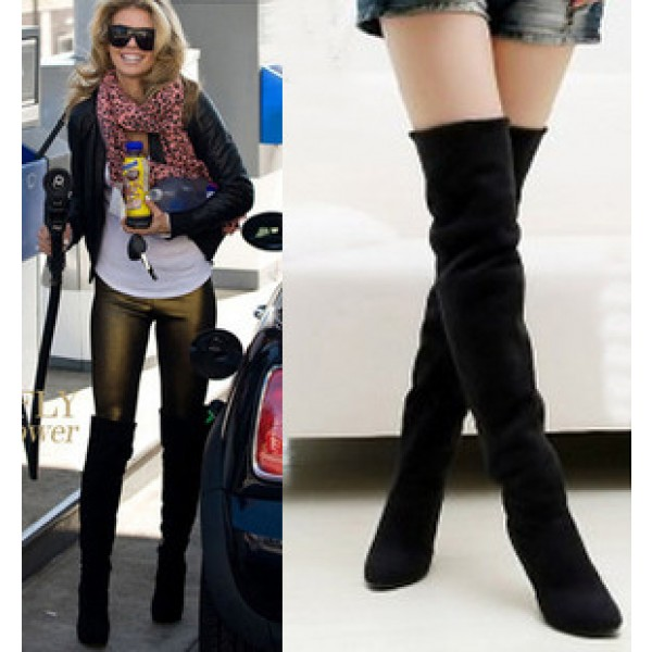 Black Velvet Thigh High Boots