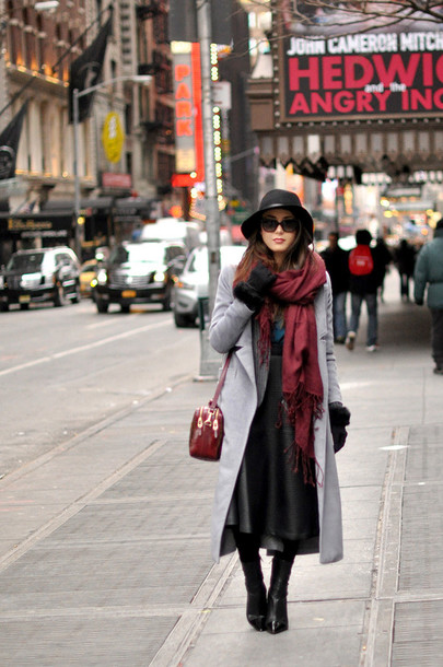 hapa time blogger gloves sunglasses leather skirt midi skirt winter outfits grey coat