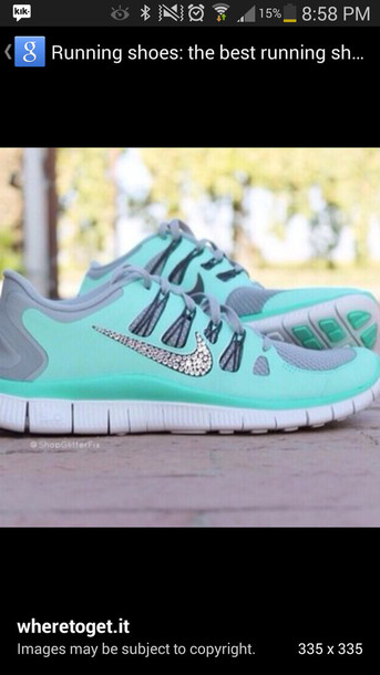 shoes bag mint nike running shoes jewels mint green nike free runs 5.0 mint green shoes sparlkly glitter shoes nike