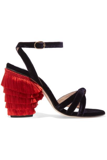MR by Man Repeller velvet sandals dark sandals velvet purple shoes