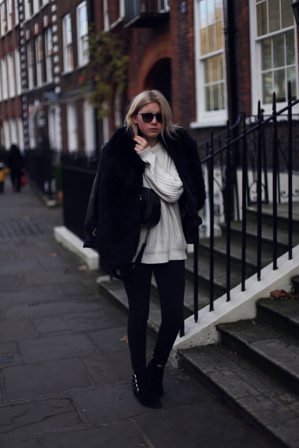 into the fold sweater bag sunglasses jacket jeans shoes