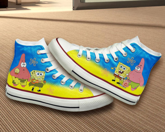 gift girly shoes converse birthday hand painted spongebob sponge bob spongebob and patrick
