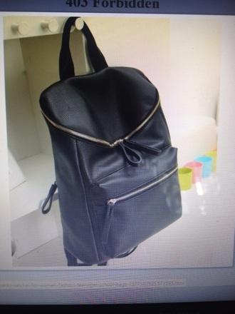 bag black leather backpack cute gold six