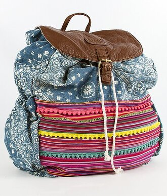 bag backpack urban blue white tribal pattern cool cute