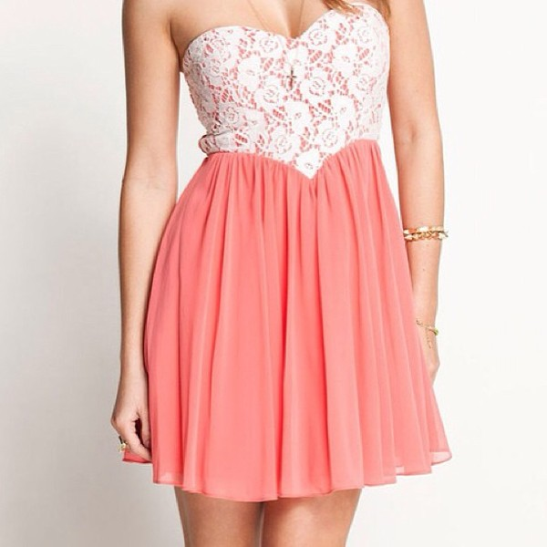 dress pink lace heart shaped coral