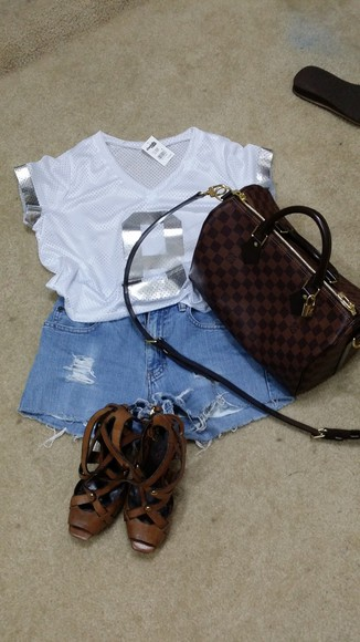 blouse cutoff shorts cutoff denim shorts