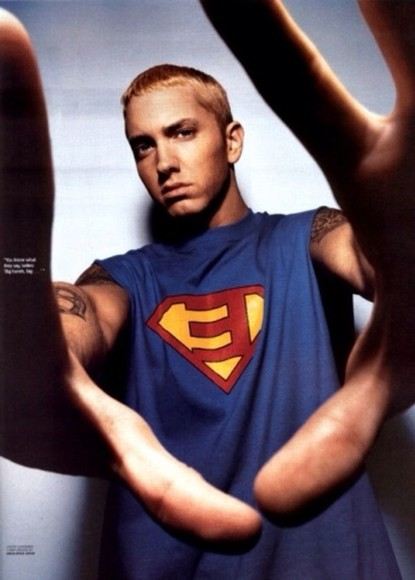 shirt superman blue red yellow eminem slim shady sexy hipster rap rapgod marshall mathers