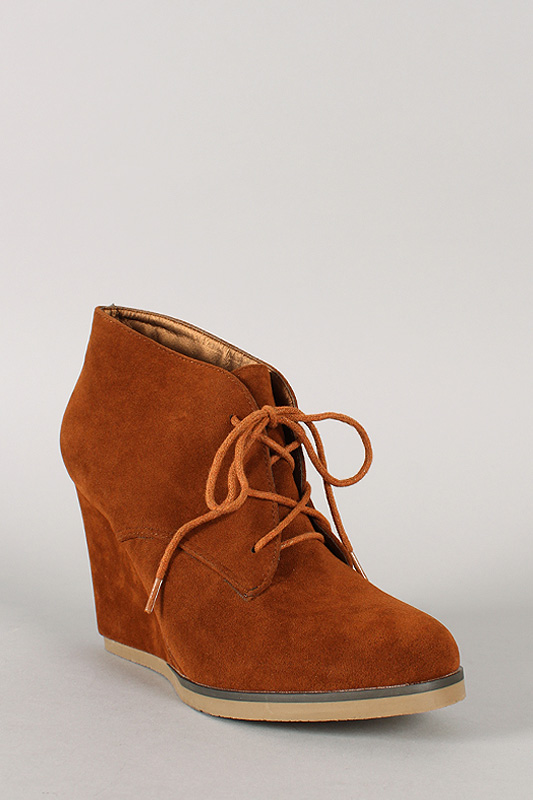 Caroline-01 Suede Lace Up Round Toe Wedge Bootie