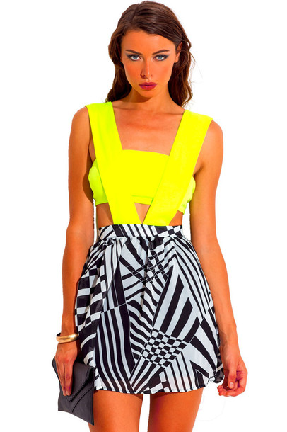 Dress Neon Neon Dress Neon Yellow Black And White Dress Black