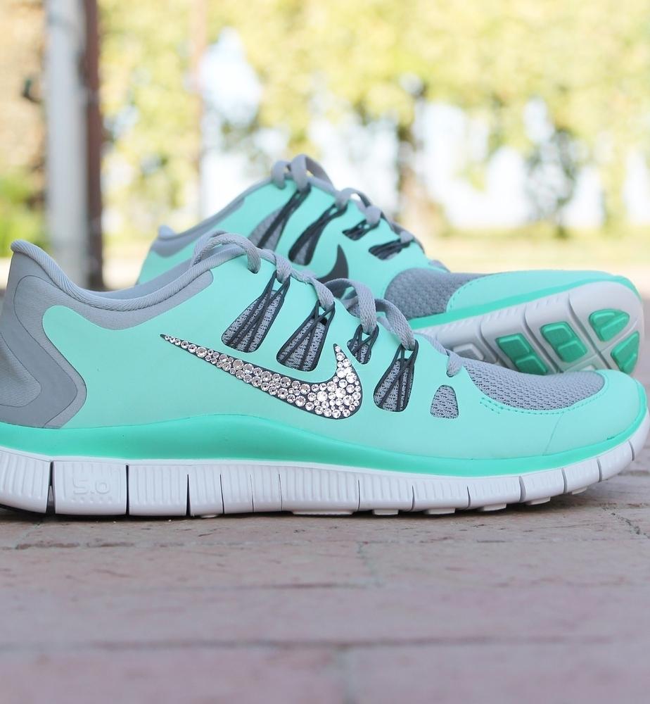 Women's Nike Free 5.0 w Swarovski Rhinestones Grey & Pink Glitterfix