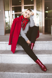 my blonde gal,blogger,red,red coat,tartan scarf,grey sweater,winter outfits,black jeans,coat,bag,scarf,jewels,sweater,shoes,jeans,red scarf
