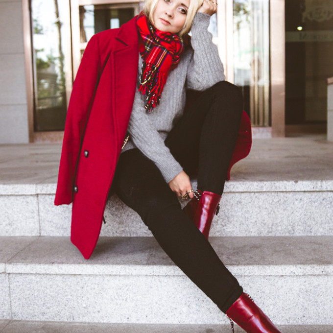 jewels red scarf jeans shoes sweater coat bag winter outfits tartan scarf my blonde gal blogger red coat grey sweater black jeans scarf red