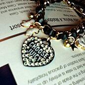 jewels,designer,designerinspired,juicy,charms,black and gold,black gold white,charm bracelet