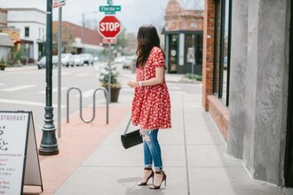 themiddlecloset blogger dress jeans shoes bag jewels dress over pants sandals high heel sandals ripped jeans