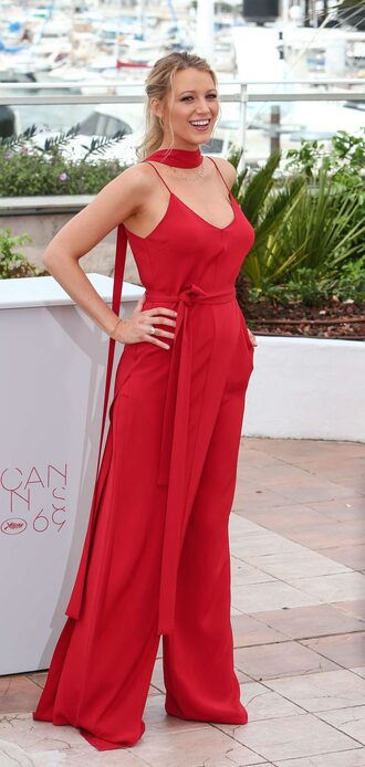 top red red pants two-piece blake lively cannes wide-leg pants tank top