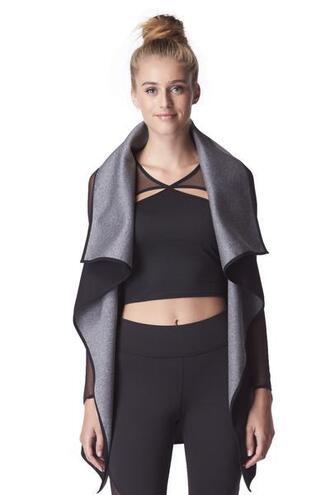 jacket black grey michi wrap vest