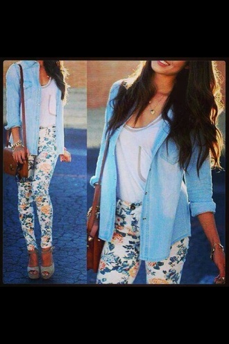 jeans cute flower patterned white yellow blue shirt pants bag jacket
