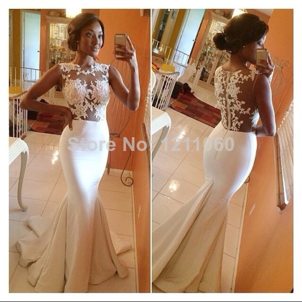 Real Sample Long Evening Dress 2014 Back Sheer Sleeveless Mermaid Prom Dress White Formal Evening Dresses vestidos de fiesta-in Evening Dresses from Apparel & Accessories on Aliexpress.com