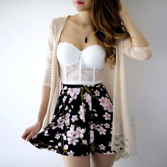 dress white lace bra bralette lacy cute teenagers tumblr girl summer spring fall outfits winter outfits fashion style beach party warm sun sunny cool skirt black flowers floral pattern print cardi cardigan kimono cream beige belt brown red pink