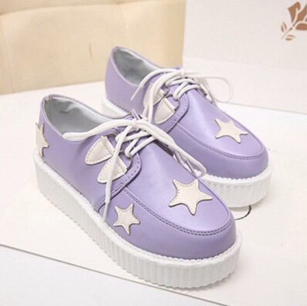 shoes kawaii shoes creepers purple