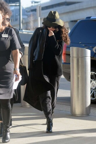 coat selena gomez fall outfits hat