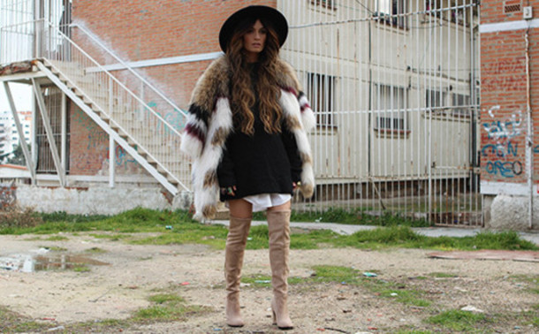 madame rosa blogger fur suede boots coat dress shirt shoes hat jewels