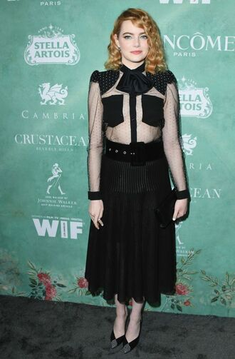 shirt see through see through dress top blouse all black everything black midi dress midi skirt emma stone oscars oscars 2018