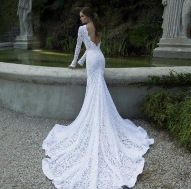 dress long train lace wedding white backless amazing elegant long ...