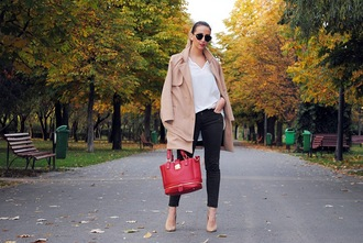 let's talk about fashion ! blogger coat shirt jeans bag sunglasses