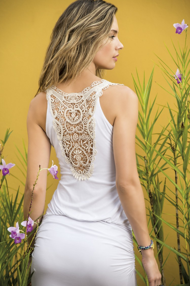 SAHA - White Maxi Crochet Dress | Shop Miami Style