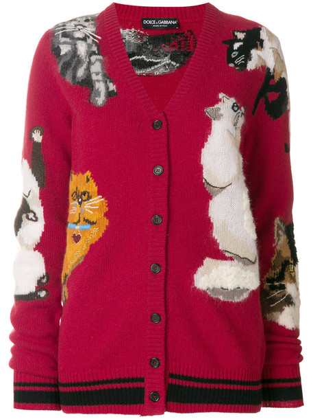 Dolce & Gabbana - cat embroidered cardigan - women - Cashmere/Mohair/Wool/Virgin Wool - 42, Red, Cashmere/Mohair/Wool/Virgin Wool