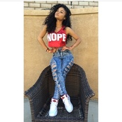 top,nope crop top,nope top,red top,high waisted distressed jeans,distressed pants,denim high waisted pants,j's,nope,high waisted jeans,high waisted pants,denim high waist,jeans,shoes,blouse,india westbrooks,shirt,tank top,crop tops,black girls killin it,t-shirt,pants,urban,red shirt,red,white