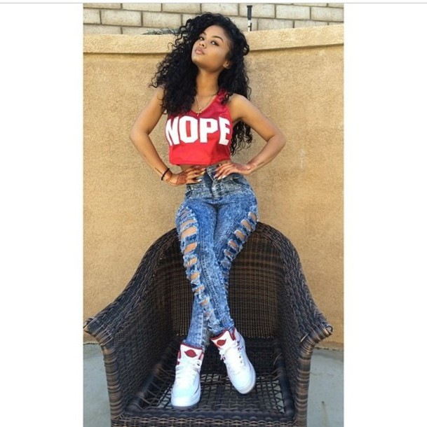 top nope crop top nope top red top high waisted distressed jeans distressed pants denim high waisted pants j's nope high waisted jeans high waisted pants denim high waist jeans shoes blouse india westbrooks shirt tank top crop tops black girls killin it t-shirt pants urban red shirt red white
