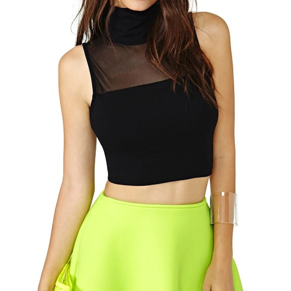 Sleeveless Cropped Top With Funnel Neck And Sheer Yoke at Style Moi
