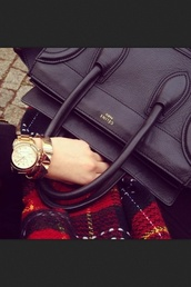 bag,celine black bag,celine,black,gold watch,scarf,gold jewelry