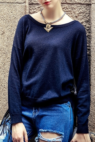 sweater casual navy long sleeves