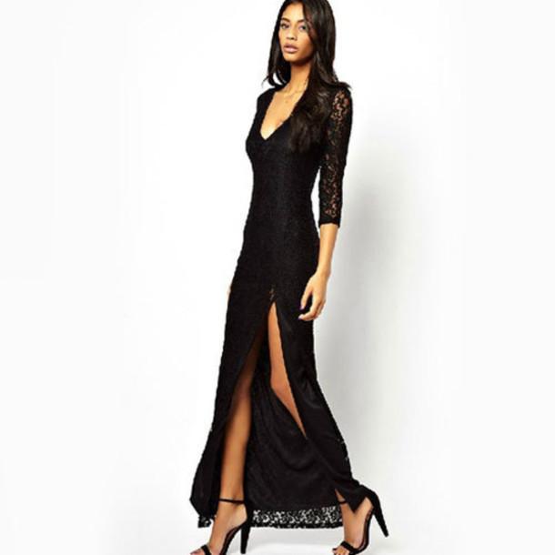 01fda2c1a4c5 dress black lace sexy long