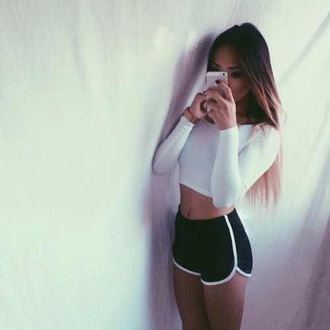 shorts sportswear sports pants sporty black white crop tops cropped top sports shorts