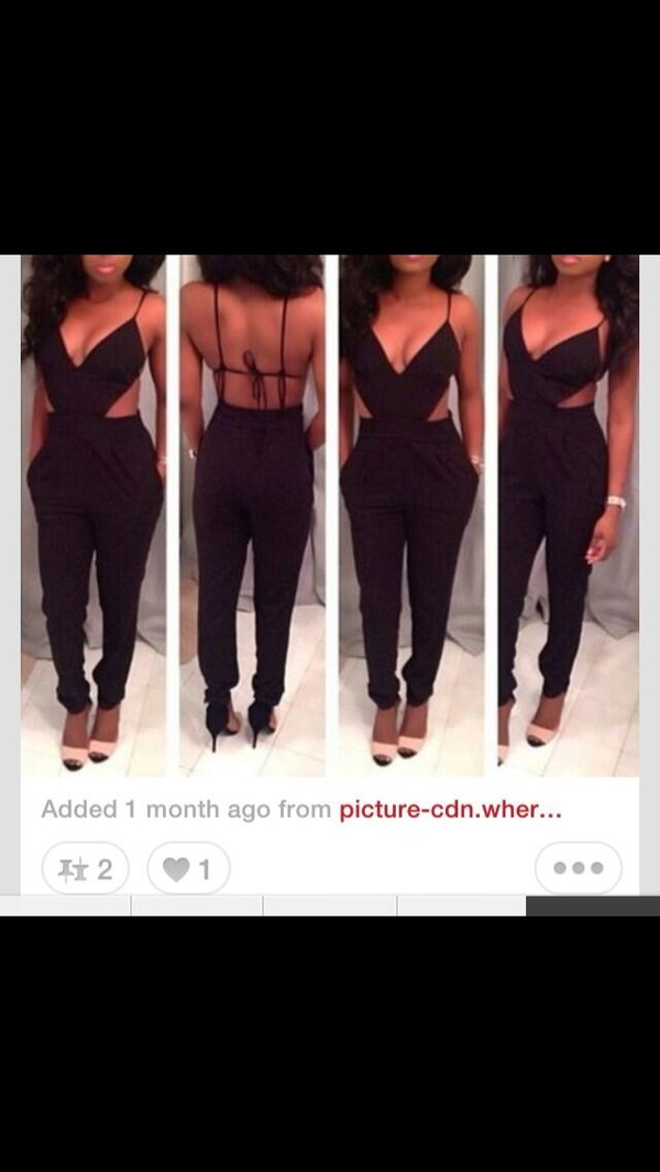 pants jumper dress jewels jumpsuit black