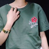 top,shirt,green,roses,floral,embroidered
